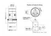 Feu de mouillage tête de mât à LED, série 34 avec système Quickfit / Boîtier blanc