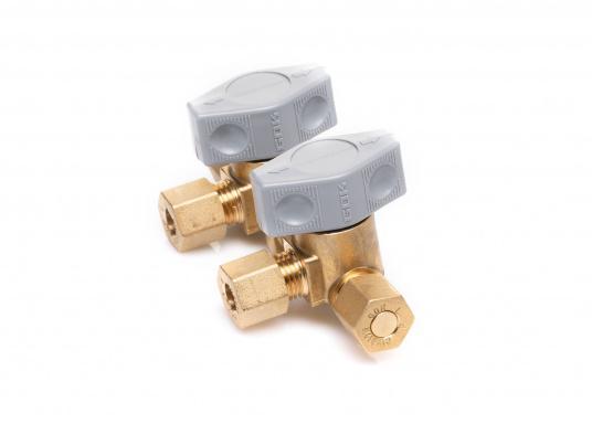 Mehrere Gasgeräte an einem zentralen Ort – mit den Verteilerblöcken ist das kein Problem. Die Sicherheits-Schnellverschluss-Absperrventile und Verteilerblöcke sind geeignet für 8 mm Rohre bzw. Schläuche mit Rohr-Endstücken. (Bild 2 von 4)