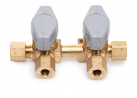 Mehrere Gasgeräte an einem zentralen Ort – mit den Verteilerblöcken ist das kein Problem. Die Sicherheits-Schnellverschluss-Absperrventile und Verteilerblöcke sind geeignet für 8 mm Rohre bzw. Schläuche mit Rohr-Endstücken. (Bild 3 von 4)