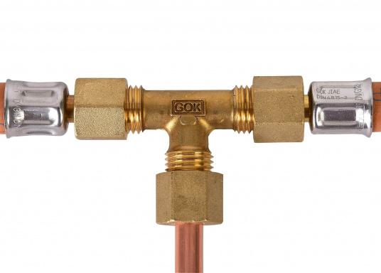 Messing Rohr-Verschraubungen, passend für 8 mm Rohre. In derAusführung: T-Verschraubung. (Bild 3 von 3)