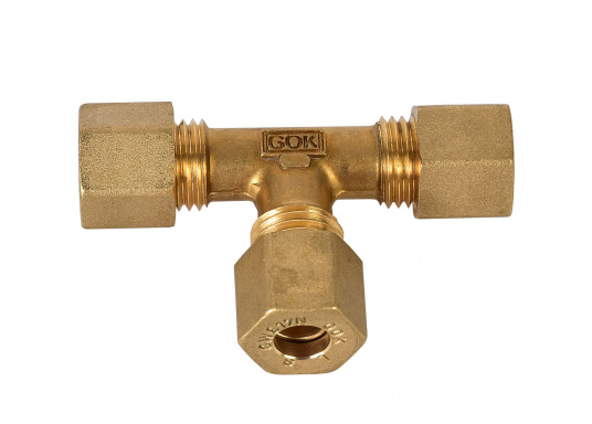 Messing Rohr-Verschraubungen, passend für 8 mm Rohre. In derAusführung: T-Verschraubung.