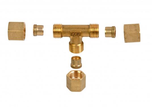 Messing Rohr-Verschraubungen, passend für 8 mm Rohre. In derAusführung: T-Verschraubung. (Bild 2 von 3)