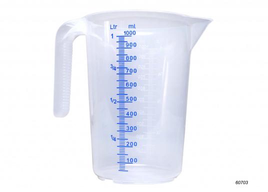 Die Messkanne mit einem Volumen von 1000 ml ist mit zwei Skalen versehen, sodass ein einfaches Ablesen des Füllstandes möglich ist.