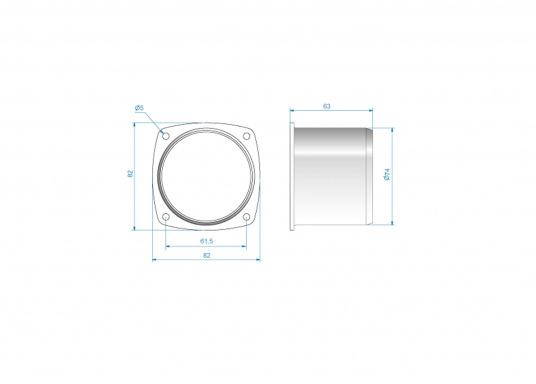 Lüfterstutzen für Edelstahl Lüftungsgitter. Material: Kunststoff.  (Bild 3 von 3)