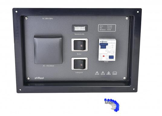 Landanschlusseinheit für Netzstromübernahme 230 Volt / 50 Hz. Netzanschluss innenliegend direkt an den Klemmen des eingebauten FI-Personenschutzschalters, Netzkontrolllampe und Netzschalters. (Bild 4 von 4)