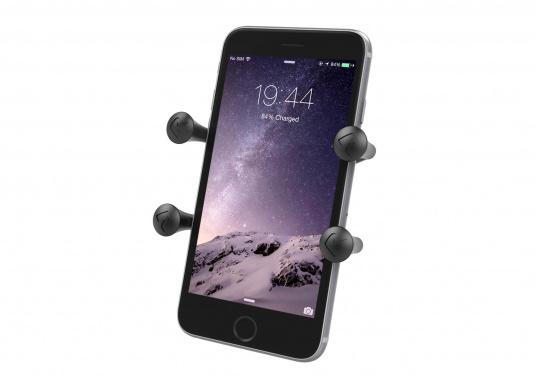 Das RAM MOUNT X-Grip System sorgt mit den Gummi-Fingern für sicheren Halt Ihrer Mobiltelefone und anderer elektrischen Kleingeräte, ohne dabei die Geräte hinter Abdeckungen zu verstecken.