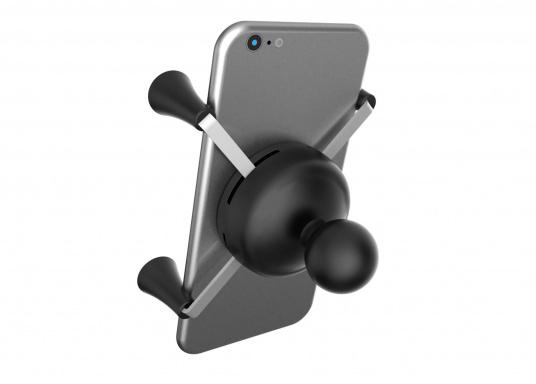 Das RAM MOUNT X-Grip System sorgt mit den Gummi-Fingern für sicheren Halt Ihrer Mobiltelefone und anderer elektrischen Kleingeräte, ohne dabei die Geräte hinter Abdeckungen zu verstecken. (Bild 2 von 8)