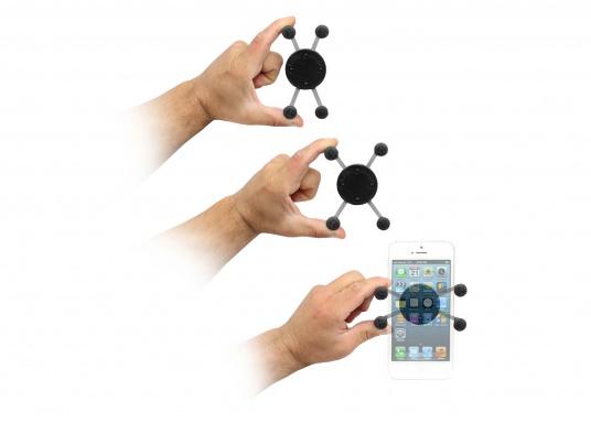 Das RAM MOUNT X-Grip System sorgt mit den Gummi-Fingern für sicheren Halt Ihrer Mobiltelefone und anderer elektrischen Kleingeräte, ohne dabei die Geräte hinter Abdeckungen zu verstecken. (Bild 8 von 8)