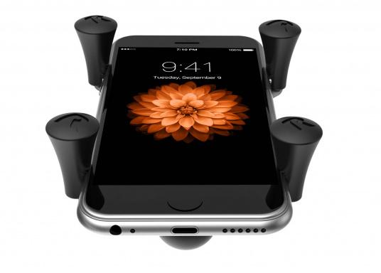 Das RAM MOUNT X-Grip System sorgt mit den Gummi-Fingern für sicheren Halt Ihrer Mobiltelefone und anderer elektrischen Kleingeräte, ohne dabei die Geräte hinter Abdeckungen zu verstecken. (Bild 3 von 8)