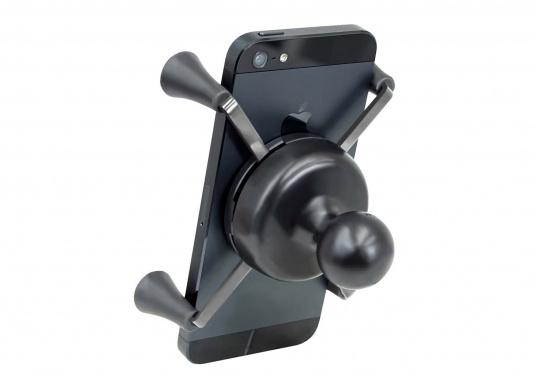 Das RAM MOUNT X-Grip System sorgt mit den Gummi-Fingern für sicheren Halt Ihrer Mobiltelefone und anderer elektrischen Kleingeräte, ohne dabei die Geräte hinter Abdeckungen zu verstecken. (Bild 5 von 8)