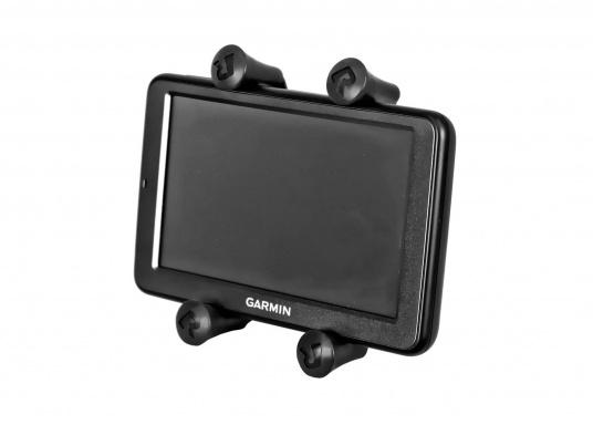 Das RAM MOUNT X-Grip System sorgt mit den Gummi-Fingern für sicheren Halt Ihrer Mobiltelefone und anderer elektrischen Kleingeräte, ohne dabei die Geräte hinter Abdeckungen zu verstecken. (Bild 6 von 8)