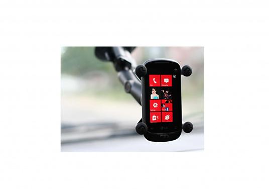 Diese RAM MOUNT X-Grip Saugfusshalterung für Smartphones (RAP-B-166-2-UN7U) besteht aus einer Saugfussbasis mit Drehverschluss einem kurzen Verbindungsarm (ca. 60 mm) und dem X-Grip Universalhalter für Smartphones und kleine elektronische Geräte. (Bild 5 von 5)