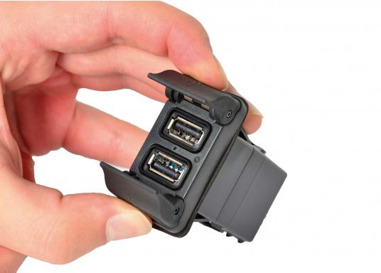 Der neue V-Serie Dual USB Adapter mit 3,15 A Ladestrom lädt Ihre elektronischen Geräte wie zum Beispiel Tablets, E-Reader, Spielekonsolen, Digitalkameras etc. schnell und problemlos auf. (Bild 2 von 6)