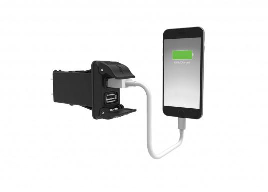 Der neue V-Serie Dual USB Adapter mit 3,15 A Ladestrom lädt Ihre elektronischen Geräte wie zum Beispiel Tablets, E-Reader, Spielekonsolen, Digitalkameras etc. schnell und problemlos auf. (Bild 6 von 6)