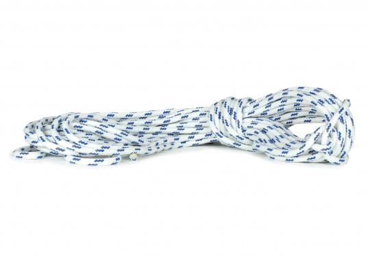 Hervorragende Leine zum Fahren aus der Hand! Kern aus hochfestem 12-fach geflochtenem Polyester, Mantel aus Polyester Stapelfasern. Farbe: blau.