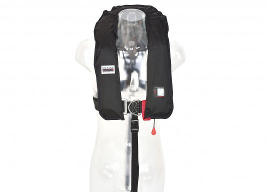 Der Testsieger in Vollausstattung! Automatikweste mit Sprayhood, Notlicht, integriertem Lifebelt, Bein/Schrittgurt, Liftschlaufe (Bergeschlaufe), Mundaufblasvorrichtung, flexiblem Netzrücken und abnehmbarem Fleecekragen  (Bild 3 von 7)