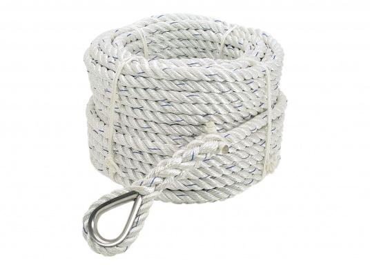 3-strand stretch and twist free anchor line with a spliced thimble. 30 m long.
