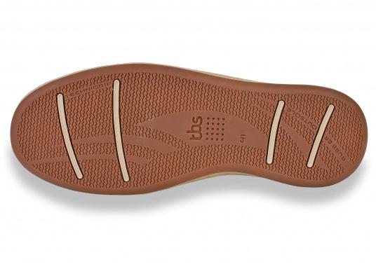 Besonders komfortabler, sportlich anmutender, 3-Ösen Bootsschuh aus seesalzwasserfestem Leder in Kombination mit Canvas-Material.  (Bild 9 von 9)
