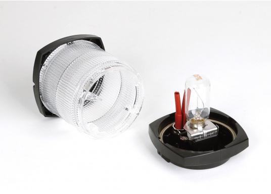 Original BavariaVollkreislaternefür Segelyachten bis 20 m Länge geeignet. Komplett mit Long-Life 12-V/10-W-Glühlampe ausgerüstet. Gehäusefarbe: schwarz. Lichtfarbe: weiß.  (Bild 2 von 2)