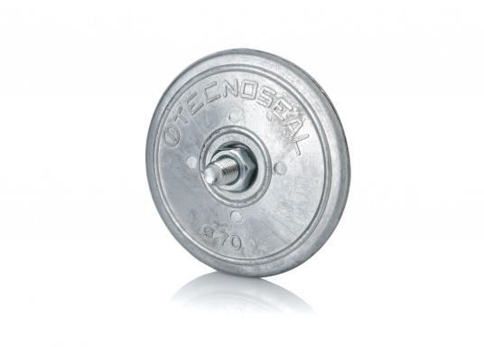 Originale Zinkanode von Bavaria in runder Bauform.Der Außendurchmesser beträgt 70 mm. Höhe: 10 mm. Lochdurchmesser: 8 mm.