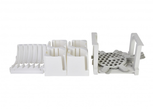 OriginalTeller und Tassenhalter-Set für Ihre BAVARIA Yacht. Farbe: weiß / grau.