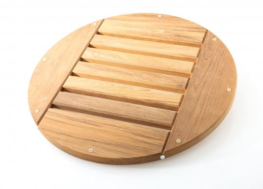 Original BAVARIA Duschrost aus Teak mit einemDurchmesser von 46 cm.