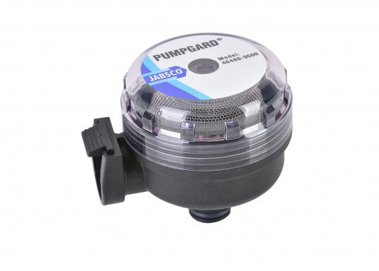 Dieser Wasserfilter ist per Schnellverschluss ganz einfach mit Ihrer Jabsco-Pumpe von Bavaria zu verbinden und hilft dabei einenPumpenausfall durch Feststoffe im Wasser zu verhindern.