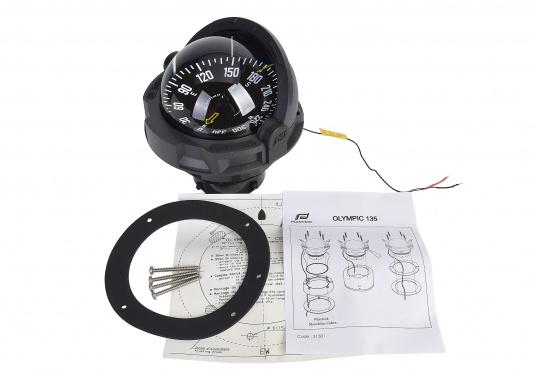 """Originaler BAVARIAKompass """"Olympic 135"""" von Plastimo. Der Kompass ist für Segelboote ab 9 mgeeignet und ist für die nördliche Halbkugel der Erde ausgelegt.Inklusive Beleuchtung und Kompensation. Farbe: schwarz.  (Bild 3 von 3)"""