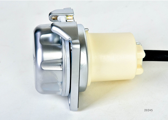 3-pole, 16 A, 230 V shore power connector in high-quality design with chrome-plated surface, including cable and plug for your BAVARIA yacht. The matching replacement cover and replacement hinges must be purchased additionally.
