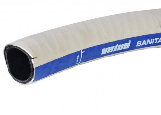 """Geruchsdichter Sanitärschlauch von Bavaria mit Stahleinlage. Farbe: weiß. Der Schlauch ist lieferbar in 1 1/2"""" (innen 38 mm). Preis per Meter."""