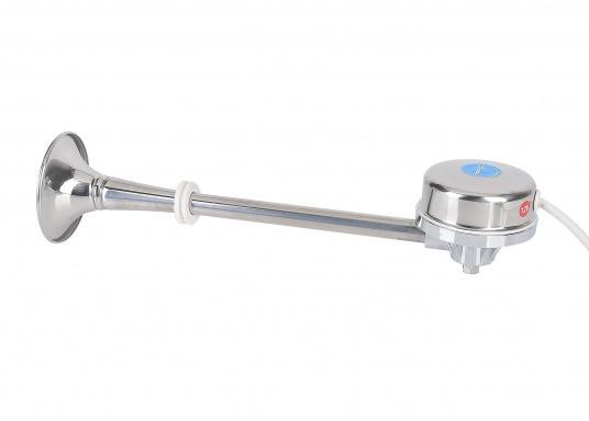 BAVARIA Corno di segnalazione originale, resistente all'acqua ed elettromagneticocon tromba in acciaio inox. Il corno raggiunge una pressione sonora di 118 dB e una frequenza di 570 Hz. Attrezzato con staffadi sostegno e materiale di montaggio.