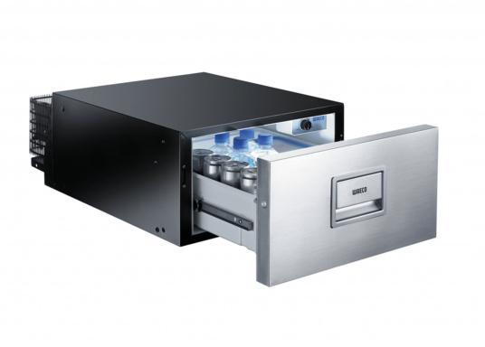 Ball bearing mounted built-in drawer fridge CD30 with freely adjustable thermostat. Net capacity: 30 liters.