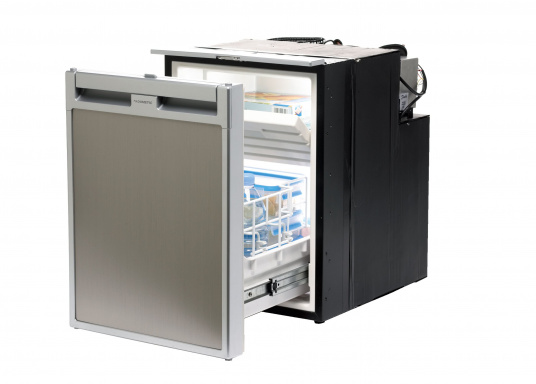 Drawer fridge CRD 50 - stainless steel look with a net capacity of approximately 50 liters and a freezer with a capacity of 4 liters.