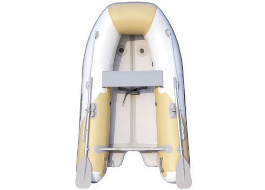 The new SEATEC AEROTEND 260 yacht tender combines all the advantages of slatted bottom boats and rigid inflatable boats in to one: a stable hull, very good handling characteristics, low weight and high load capacity.  (Image 3 of 18)