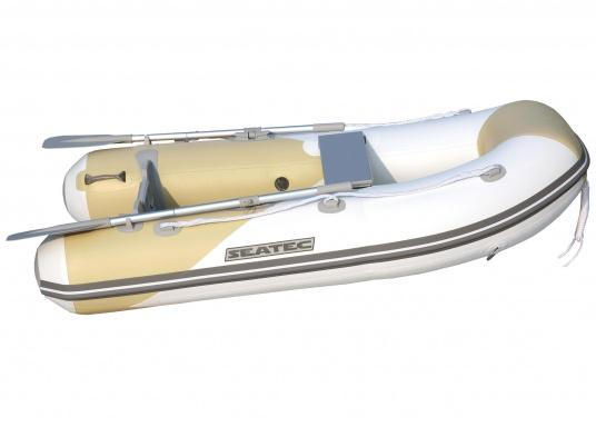 The new SEATEC AEROTEND 260 yacht tender combines all the advantages of slatted bottom boats and rigid inflatable boats in to one: a stable hull, very good handling characteristics, low weight and high load capacity.
