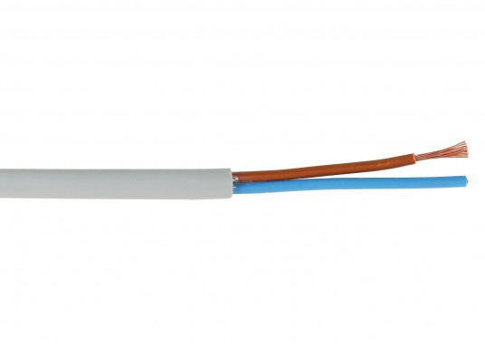 Two-core installation cable for use with medium mechanical stresses. For flexible use with free movement without tensile stress.