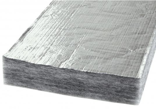Diese Schall- / Wärmeisolierung verfügt über eine robuste Oberfläche aus Aluminiumgittergelege und kommt auch im industriellen Yachtbau zum Einsatz.