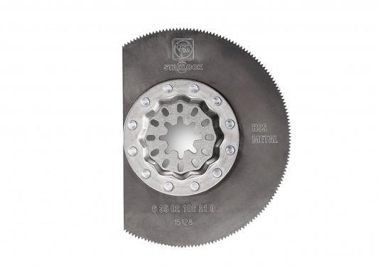 HSS Segmentsägeblatt für Kunststof, GFK, Holz, Kitt, Buntmetalle und Blech bis ca. 1 mm. Ideal zum Arbeiten in Ecken geeignet. Durchmesser: 85 mm.