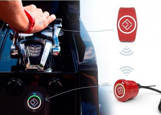 Mit diesem innovativen und kabellosen WIMEA Sicherheits-Schalter wird Ihre Sicherheit an Bord garantiert, denn dank der revolutionären Wireless-Technologie wird Ihr Motor bei einer MOB-Situation abgestellt.  (Bild 2 von 8)