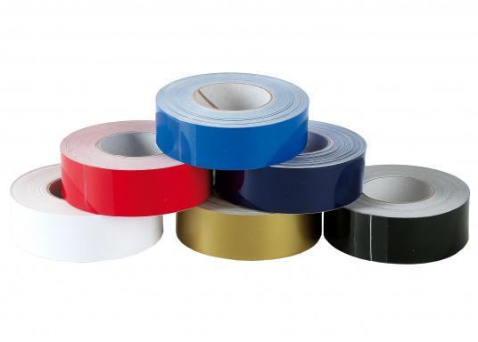 Monochrome, adhesive decorative strips with a width of 25 mm. Roll length: 15 m. Also suitable for the waterline.