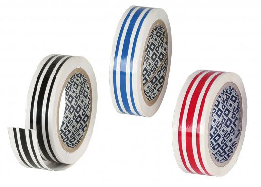 Uni-farbende, selbstklebende Zierstreifen mit 3 Segmenten (schmal - breit - schmal) in 19 mm Breite. Rollenlänge: 10 m. Auch für den Wasserpass geeignet.