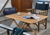 DIRECTORS CHAIR Folding Teak Chair / navy blue