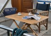 Chaise metteur en scène pliante en teck / bleu marine