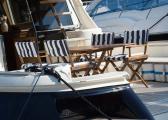 Chaise metteur en scène pliante en teck / finitions inox / bleu marine