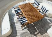REGISSEUR Teak Folding Chair / darkblue - white / oiled
