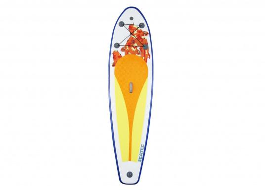 Einsteigerboard mit sehr gutem Preis-Leistungsverhältnis. Maße: 300 x 75 x 10 cm. Gewicht ca. 9 kg, Tragkraft ca. 95 kg, Auftrieb: ca. 135 l. Druck ca. 0,8 bar.