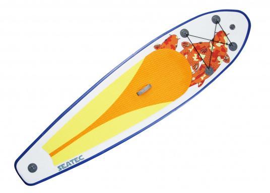 Einsteigerboard mit sehr gutem Preis-Leistungsverhältnis. Maße: 300 x 75 x 10 cm. Gewicht ca. 9 kg, Tragkraft ca. 95 kg, Auftrieb: ca. 135 l. Druck ca. 0,8 bar.  (Bild 7 von 15)