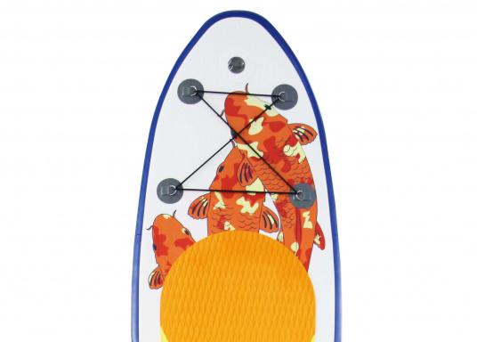 Einsteigerboard mit sehr gutem Preis-Leistungsverhältnis. Maße: 300 x 75 x 10 cm. Gewicht ca. 9 kg, Tragkraft ca. 95 kg, Auftrieb: ca. 135 l. Druck ca. 0,8 bar.  (Bild 2 von 15)