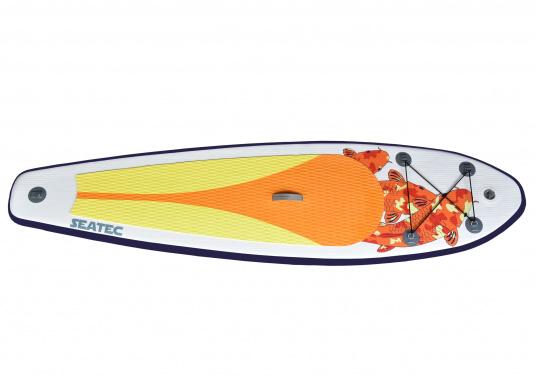 Einsteigerboard mit sehr gutem Preis-Leistungsverhältnis. Maße: 300 x 75 x 10 cm. Gewicht ca. 9 kg, Tragkraft ca. 95 kg, Auftrieb: ca. 135 l. Druck ca. 0,8 bar.  (Bild 8 von 15)