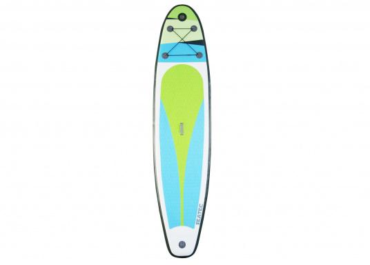 Einsteigerboard mit sehr gutem Preis-Leistungsverhältnis. Maße: 365 x 82 x 15 cm. Gewicht ca. 14,5 kg, Tragkraft ca. 160kg, Auftrieb: ca. 350l. Druck ca. 1,0bar.